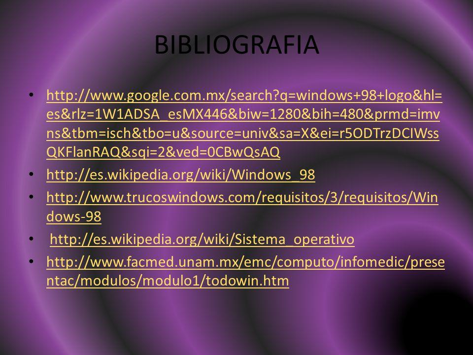 BIBLIOGRAFIA http://www.google.com.mx/search q=windows+98+logo&hl= es&rlz=1W1ADSA_esMX446&biw=1280&bih=480&prmd=imv ns&tbm=isch&tbo=u&source=univ&sa=X&ei=r5ODTrzDCIWss QKFlanRAQ&sqi=2&ved=0CBwQsAQ http://www.google.com.mx/search q=windows+98+logo&hl= es&rlz=1W1ADSA_esMX446&biw=1280&bih=480&prmd=imv ns&tbm=isch&tbo=u&source=univ&sa=X&ei=r5ODTrzDCIWss QKFlanRAQ&sqi=2&ved=0CBwQsAQ http://es.wikipedia.org/wiki/Windows_98 http://www.trucoswindows.com/requisitos/3/requisitos/Win dows-98 http://www.trucoswindows.com/requisitos/3/requisitos/Win dows-98 http://es.wikipedia.org/wiki/Sistema_operativo http://www.facmed.unam.mx/emc/computo/infomedic/prese ntac/modulos/modulo1/todowin.htm http://www.facmed.unam.mx/emc/computo/infomedic/prese ntac/modulos/modulo1/todowin.htm
