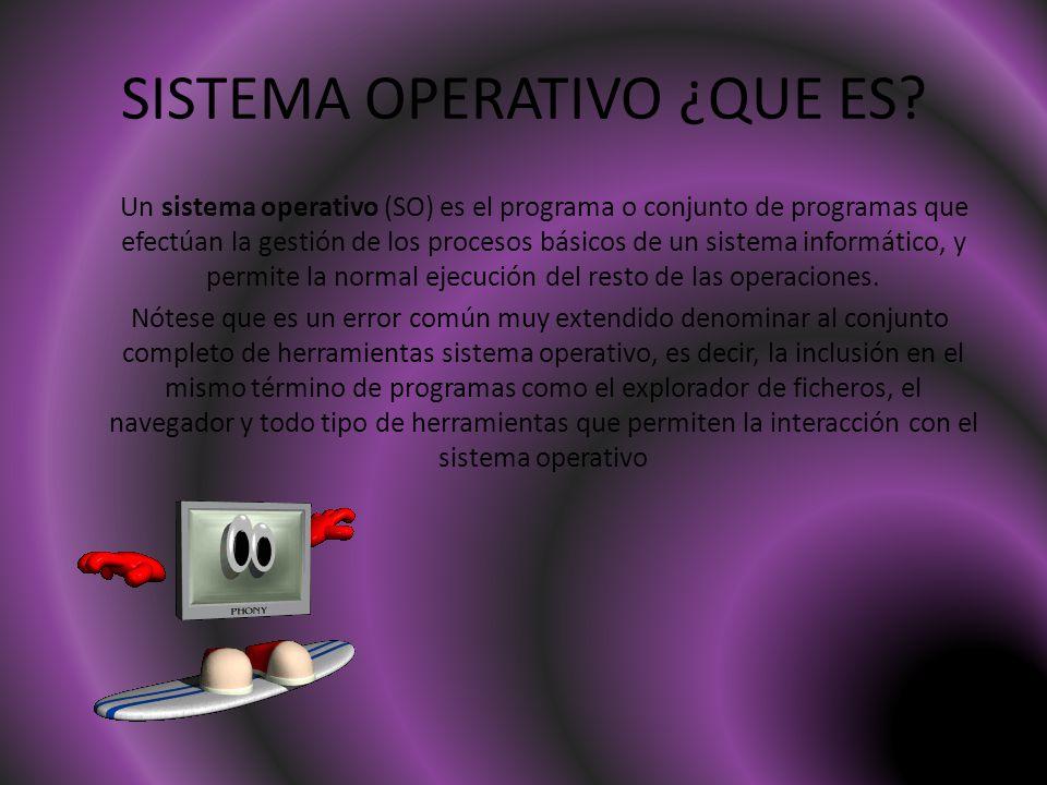 SISTEMA OPERATIVO ¿QUE ES? Un sistema operativo (SO) es el programa o conjunto de programas que efectúan la gestión de los procesos básicos de un sist