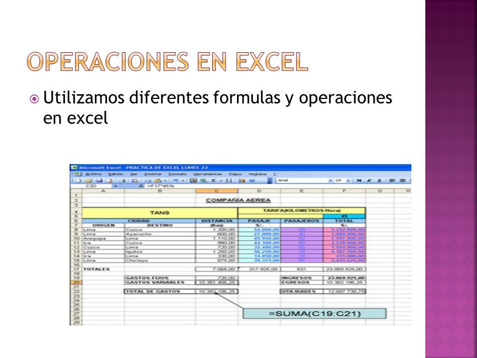 Utilizamos diferentes formulas y operaciones en excel