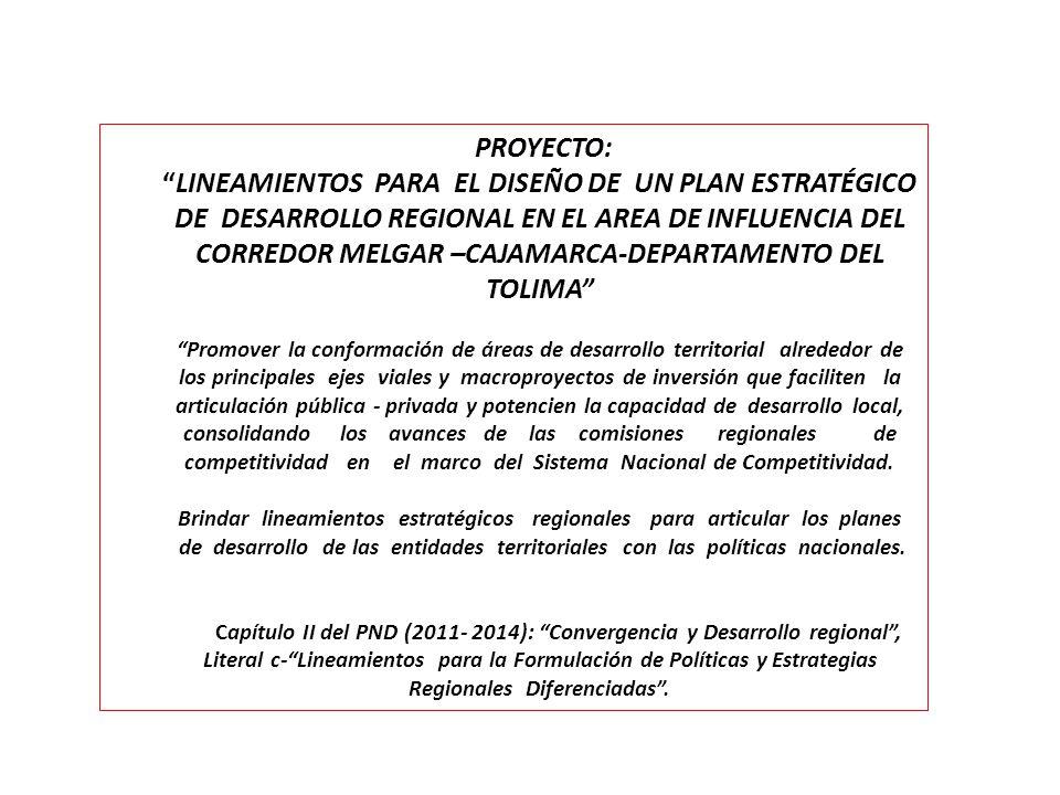 PROYECTO:LINEAMIENTOS PARA EL DISEÑO DE UN PLAN ESTRATÉGICO DE DESARROLLO REGIONAL EN EL AREA DE INFLUENCIA DEL CORREDOR MELGAR –CAJAMARCA-DEPARTAMENT