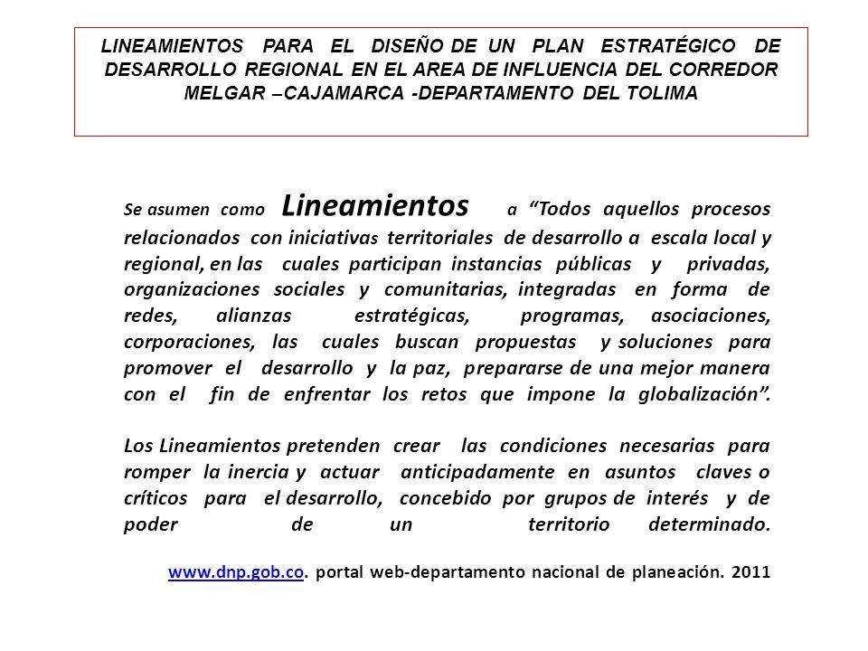 Se asumen como Lineamientos a Todos aquellos procesos relacionados con iniciativa s territoriales de desarrollo a escala local y regional, en las cual