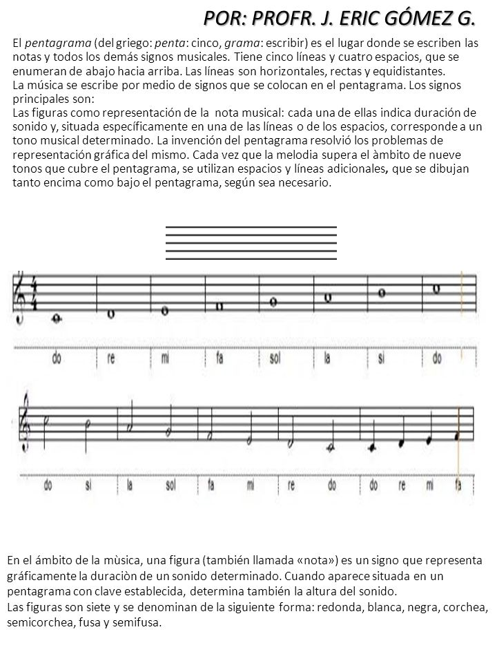 El pentagrama (del griego: penta: cinco, grama: escribir) es el lugar donde se escriben las notas y todos los demás signos musicales. Tiene cinco líne