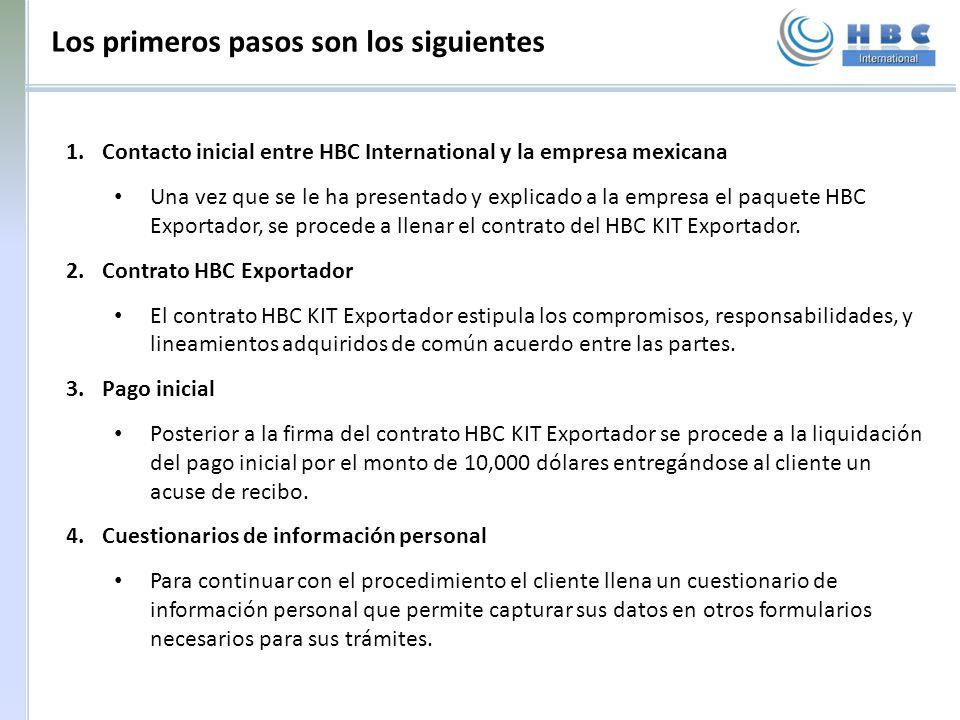 Los primeros pasos son los siguientes 1.Contacto inicial entre HBC International y la empresa mexicana Una vez que se le ha presentado y explicado a l