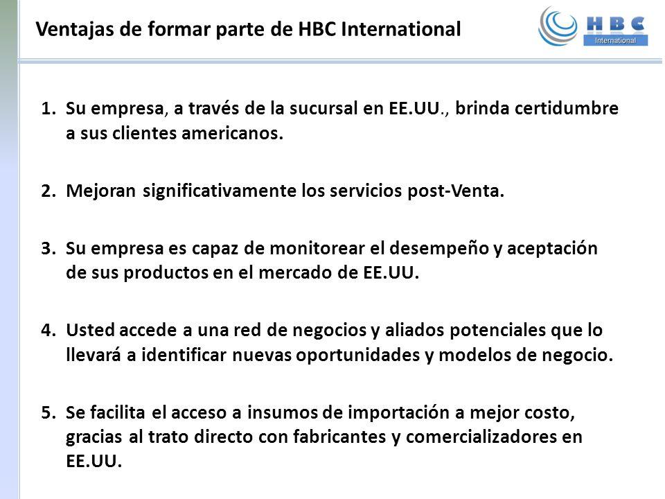 Ventajas de formar parte de HBC International 1.Su empresa, a través de la sucursal en EE.UU., brinda certidumbre a sus clientes americanos. 2.Mejoran
