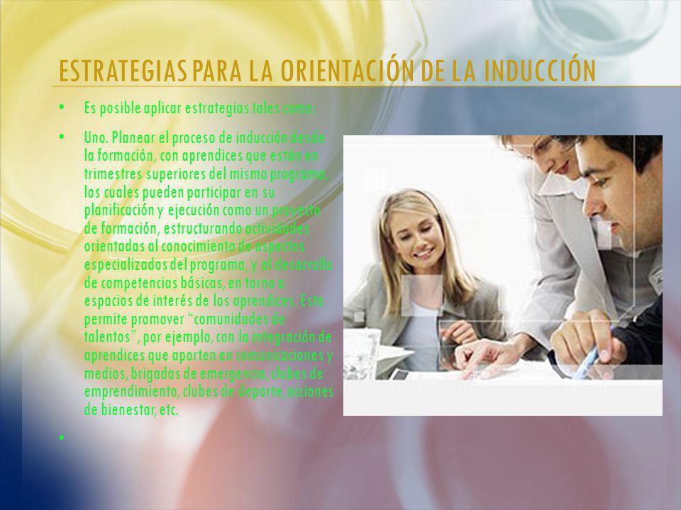 ESTRATEGIAS PARA LA ORIENTACIÓN DE LA INDUCCIÓN Es posible aplicar estrategias tales como: Uno.