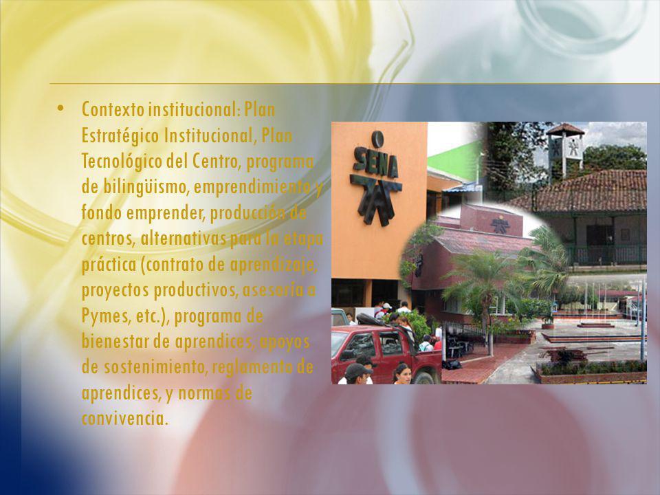 Contexto institucional: Plan Estratégico Institucional, Plan Tecnológico del Centro, programa de bilingüismo, emprendimiento y fondo emprender, producción de centros, alternativas para la etapa práctica (contrato de aprendizaje, proyectos productivos, asesoría a Pymes, etc.), programa de bienestar de aprendices, apoyos de sostenimiento, reglamento de aprendices, y normas de convivencia.