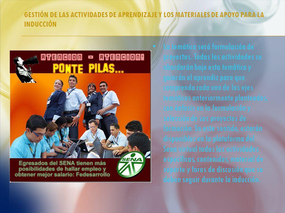 GESTIÓN DE LAS ACTIVIDADES DE APRENDIZAJE Y LOS MATERIALES DE APOYO PARA LA INDUCCIÓN La temática será formulación de proyectos.
