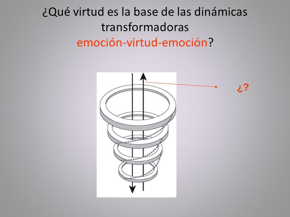 ¿Qué virtud es la base de las dinámicas transformadoras emoción-virtud-emoción? ¿?