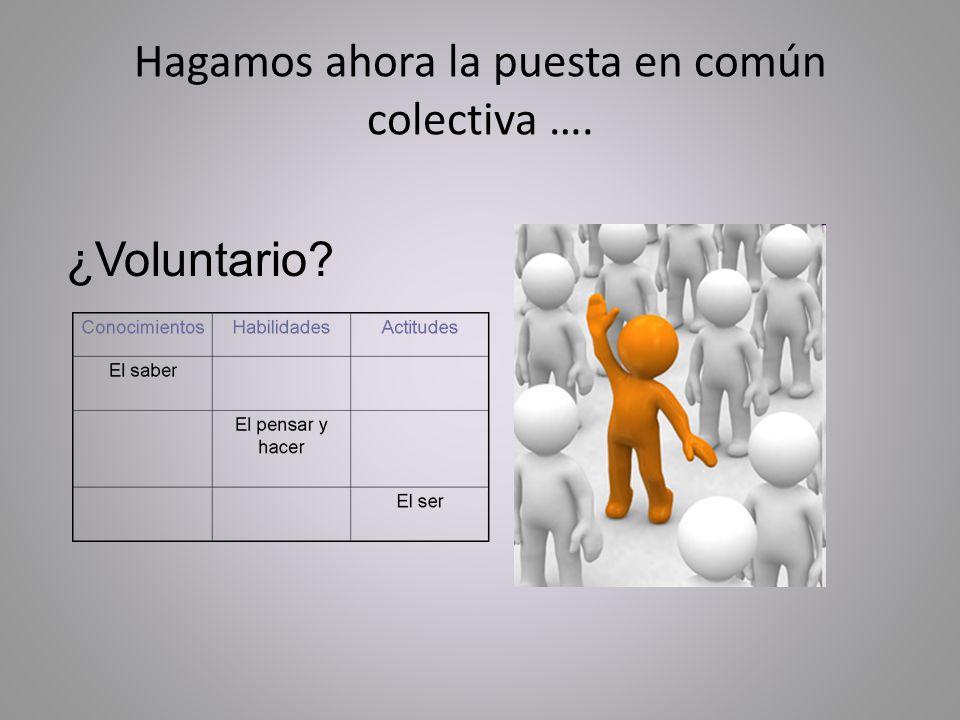 Hagamos ahora la puesta en común colectiva …. ¿Voluntario?