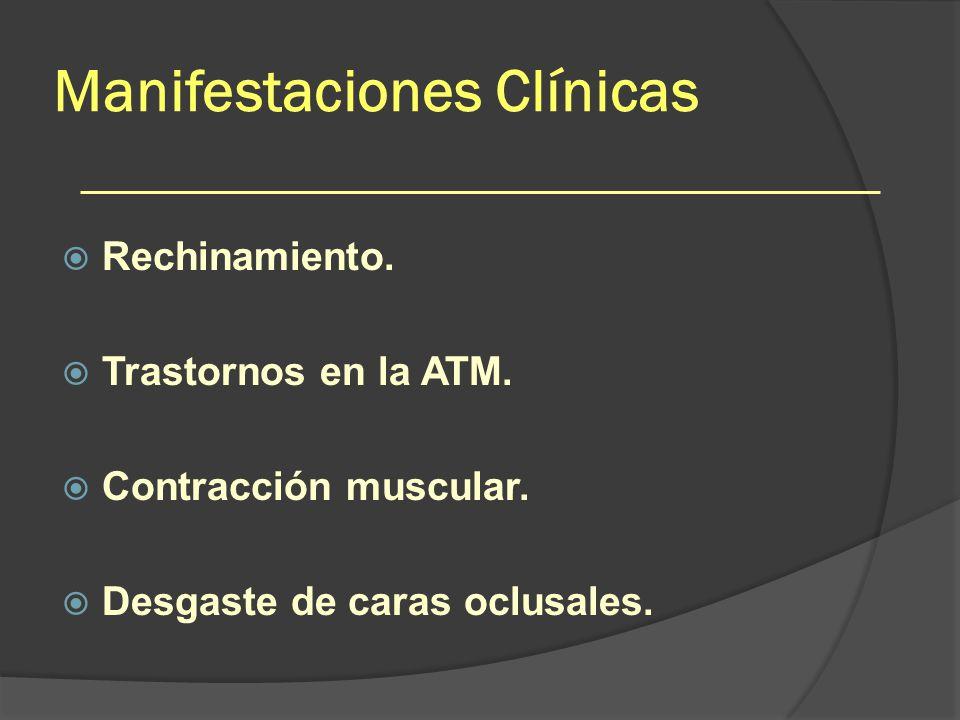 Manifestaciones Clínicas Rechinamiento. Trastornos en la ATM. Contracción muscular. Desgaste de caras oclusales.