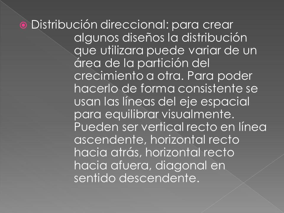Distribución direccional: para crear algunos diseños la distribución que utilizara puede variar de un área de la partición del crecimiento a otra. Par