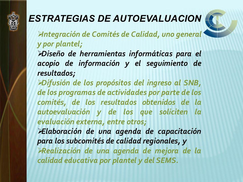 ESTRATEGIAS DE AUTOEVALUACION Integración de Comités de Calidad, uno general y por plantel; Diseño de herramientas informáticas para el acopio de info