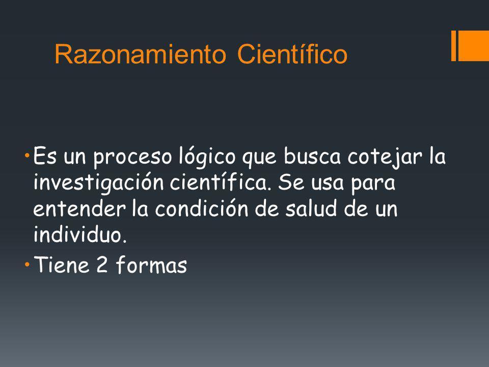 Razonamiento Científico Es un proceso lógico que busca cotejar la investigación científica. Se usa para entender la condición de salud de un individuo