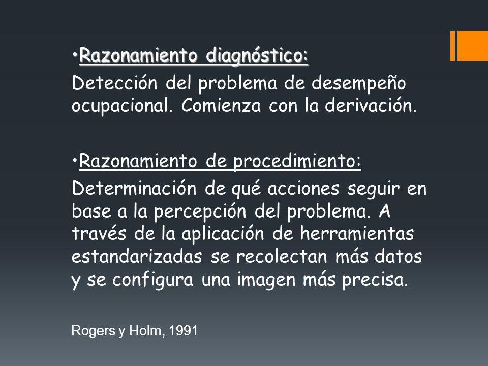 Razonamiento diagnóstico:Razonamiento diagnóstico: Detección del problema de desempeño ocupacional. Comienza con la derivación. Razonamiento de proced