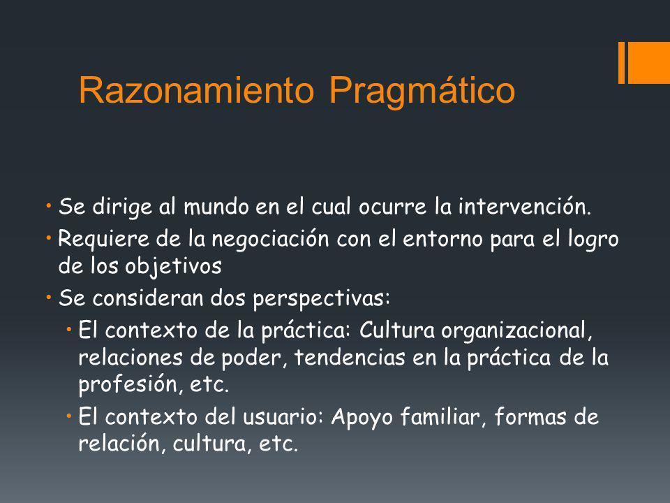 Razonamiento Pragmático Se dirige al mundo en el cual ocurre la intervención. Requiere de la negociación con el entorno para el logro de los objetivos