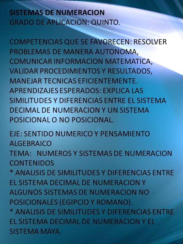 SISTEMAS DE NUMERACION GRADO DE APLICACION: QUINTO. COMPETENCIAS QUE SE FAVORECEN: RESOLVER PROBLEMAS DE MANERA AUTONOMA, COMUNICAR INFORMACION MATEMA