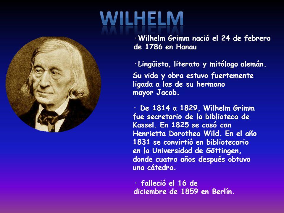 · Estudió derecho en Marburgo y París · Jacob Ludwig Karl Grimm nació el 4 de enero de 1785, en Hesse, Alemania · Falleció en Berlín, el 20 de septiem