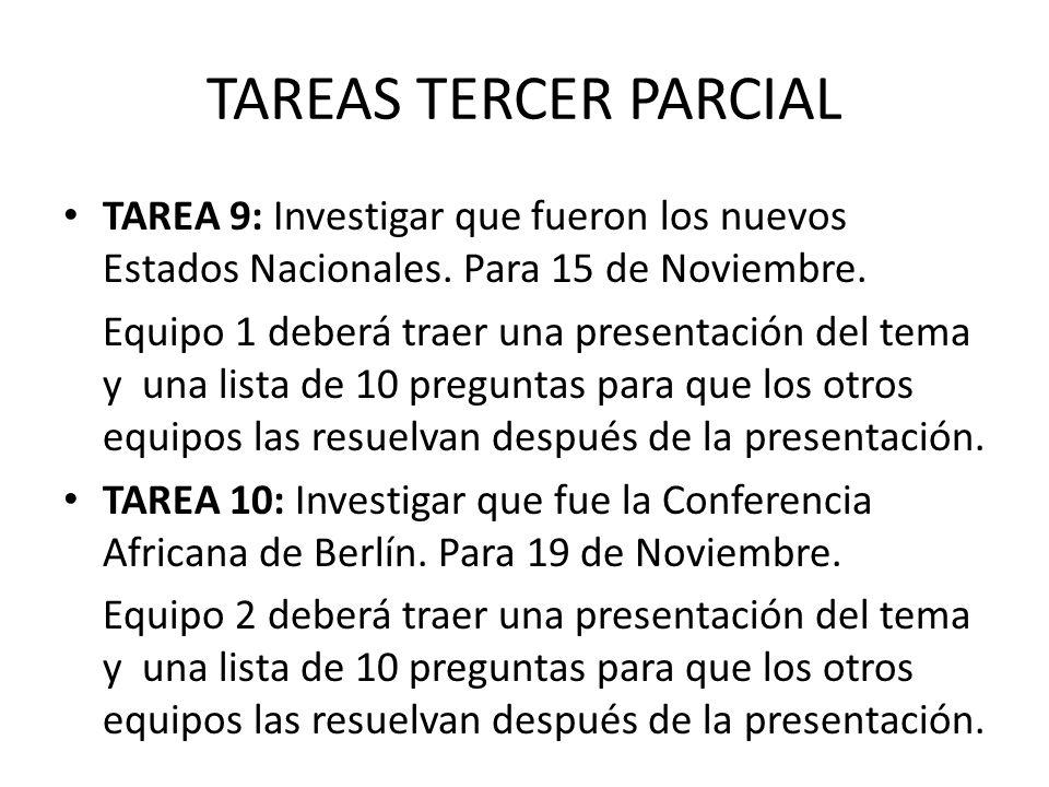 TAREAS TERCER PARCIAL TAREA 9: Investigar que fueron los nuevos Estados Nacionales.