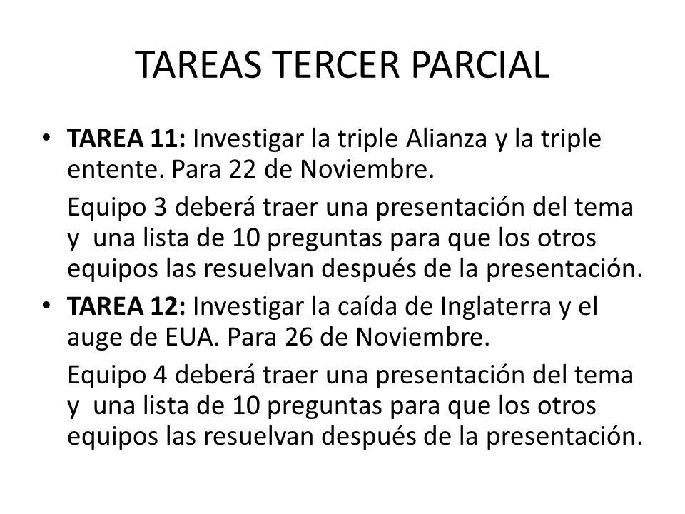 TAREAS TERCER PARCIAL TAREA 11: Investigar la triple Alianza y la triple entente.