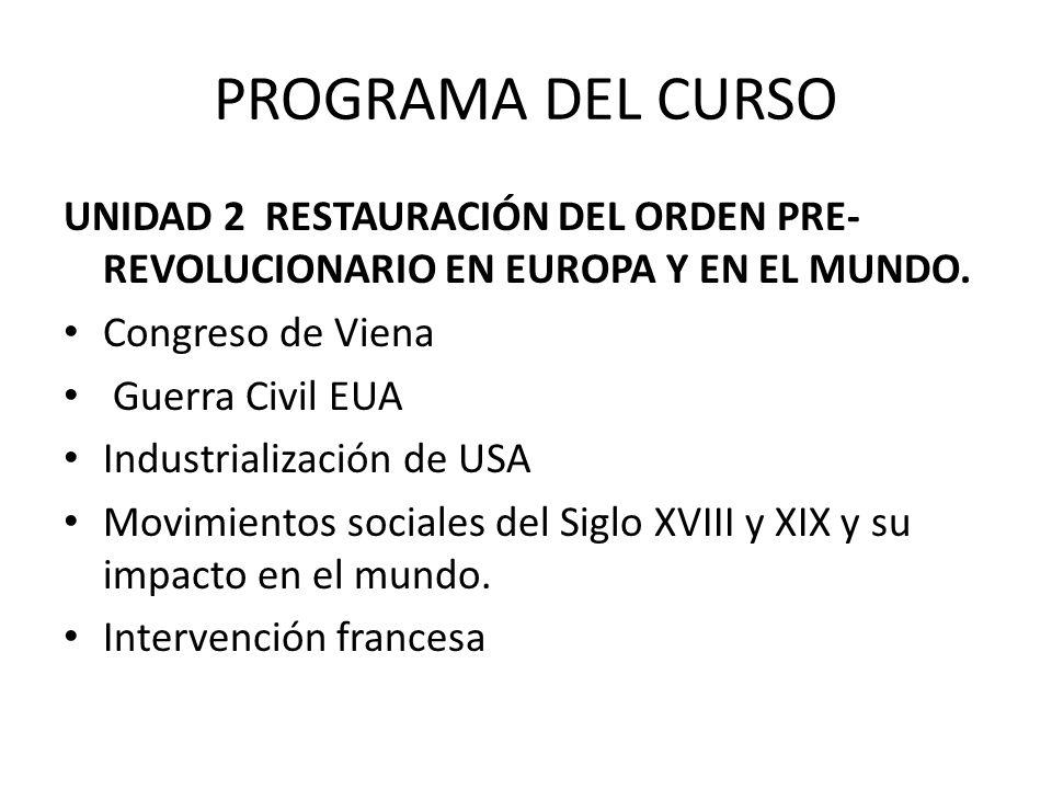 PROGRAMA DEL CURSO UNIDAD 2 RESTAURACIÓN DEL ORDEN PRE- REVOLUCIONARIO EN EUROPA Y EN EL MUNDO.