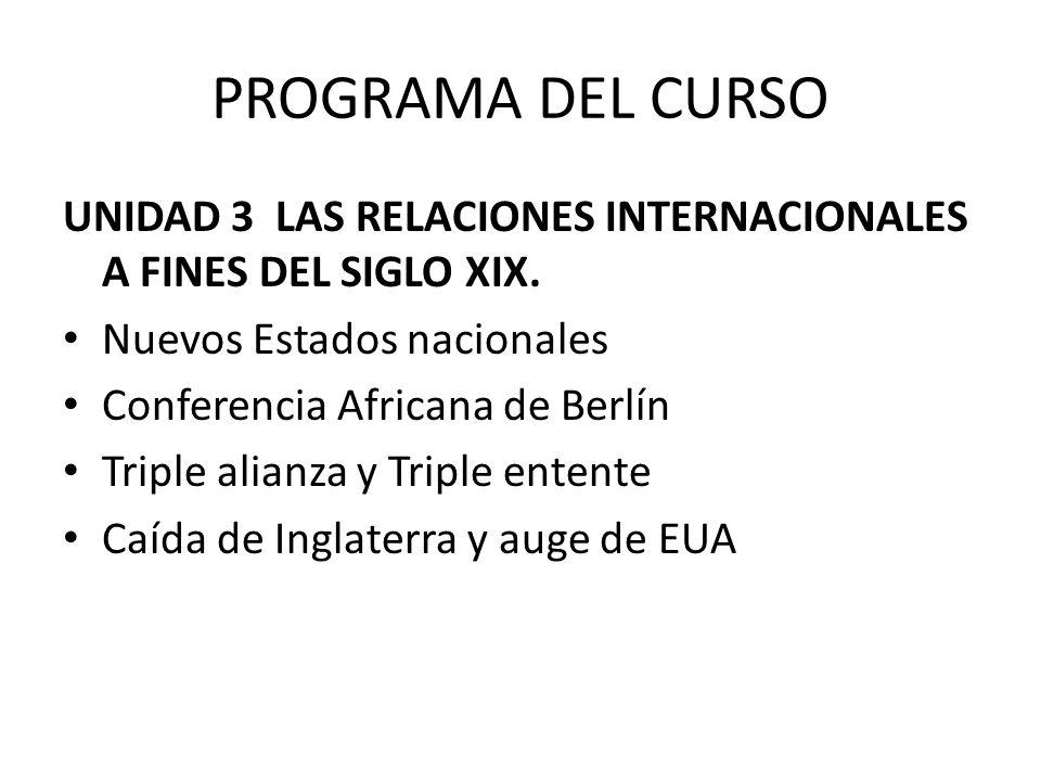 PROGRAMA DEL CURSO UNIDAD 3 LAS RELACIONES INTERNACIONALES A FINES DEL SIGLO XIX.