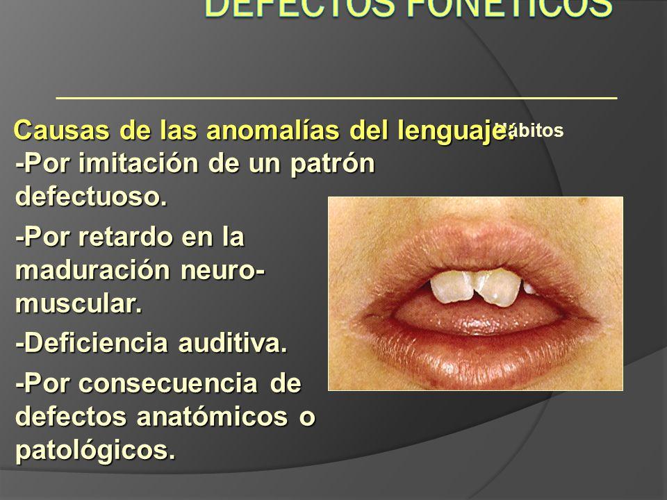 Hábitos Causas de las anomalías del lenguaje: -Por imitación de un patrón defectuoso. -Por retardo en la maduración neuro- muscular. -Deficiencia audi
