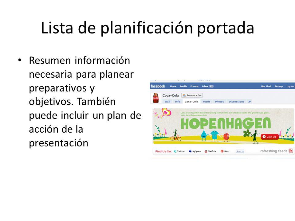 Lista de planificación portada Resumen información necesaria para planear preparativos y objetivos. También puede incluir un plan de acción de la pres