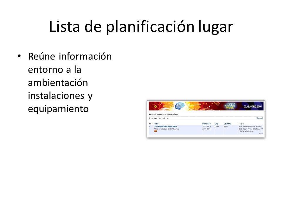 Lista de planificación lugar Reúne información entorno a la ambientación instalaciones y equipamiento