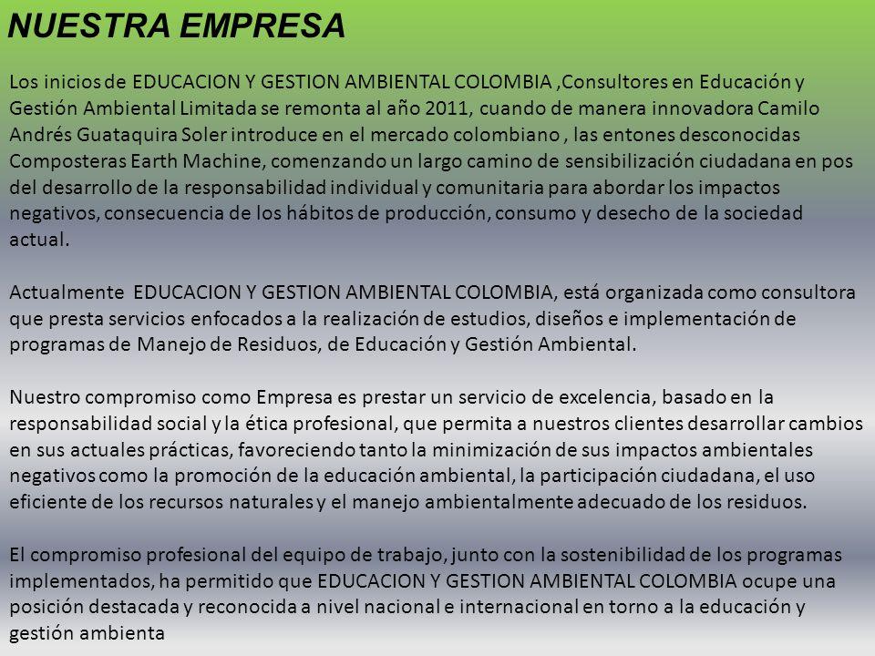 Los inicios de EDUCACION Y GESTION AMBIENTAL COLOMBIA,Consultores en Educación y Gestión Ambiental Limitada se remonta al año 2011, cuando de manera i