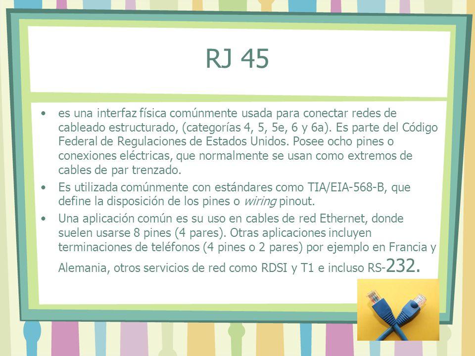RJ 45 es una interfaz física comúnmente usada para conectar redes de cableado estructurado, (categorías 4, 5, 5e, 6 y 6a). Es parte del Código Federal