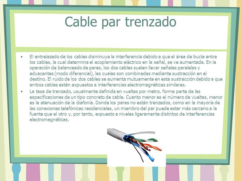 Cable par trenzado El entrelazado de los cables disminuye la interferencia debido a que el área de bucle entre los cables, la cual determina el acoplamiento eléctrico en la señal, se ve aumentada.