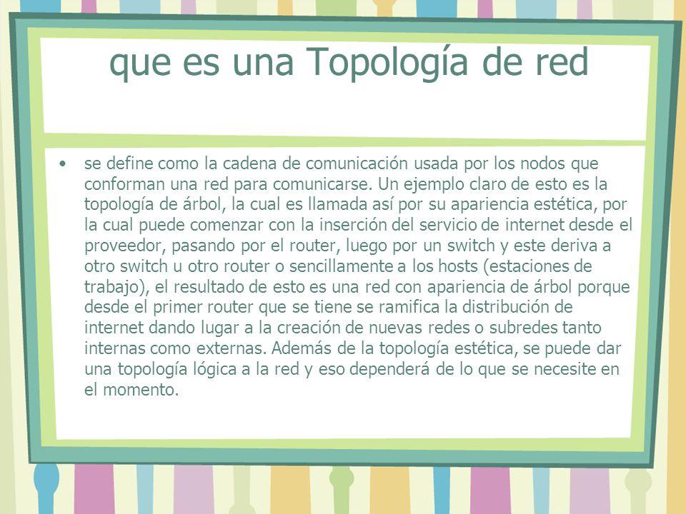 que es una Topología de red se define como la cadena de comunicación usada por los nodos que conforman una red para comunicarse.