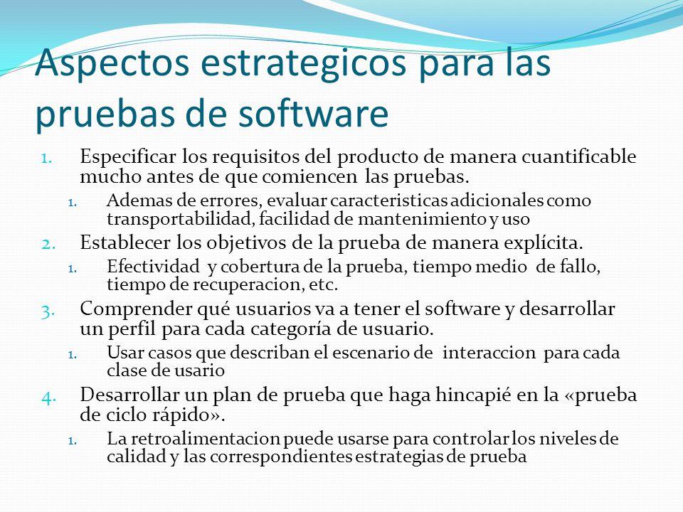 Aspectos estrategicos para las pruebas de software 1. Especificar los requisitos del producto de manera cuantificable mucho antes de que comiencen las