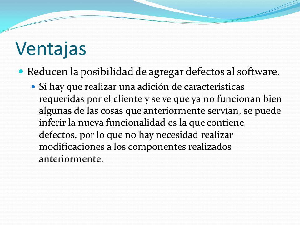 Ventajas Reducen la posibilidad de agregar defectos al software.