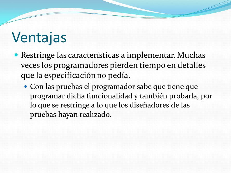 Ventajas Restringe las características a implementar.