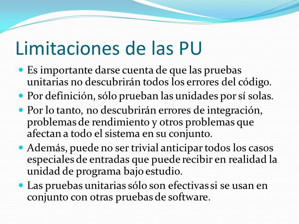 Limitaciones de las PU Es importante darse cuenta de que las pruebas unitarias no descubrirán todos los errores del código. Por definición, sólo prueb