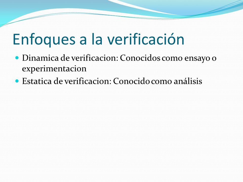 Enfoques a la verificación Dinamica de verificacion: Conocidos como ensayo o experimentacion Estatica de verificacion: Conocido como análisis