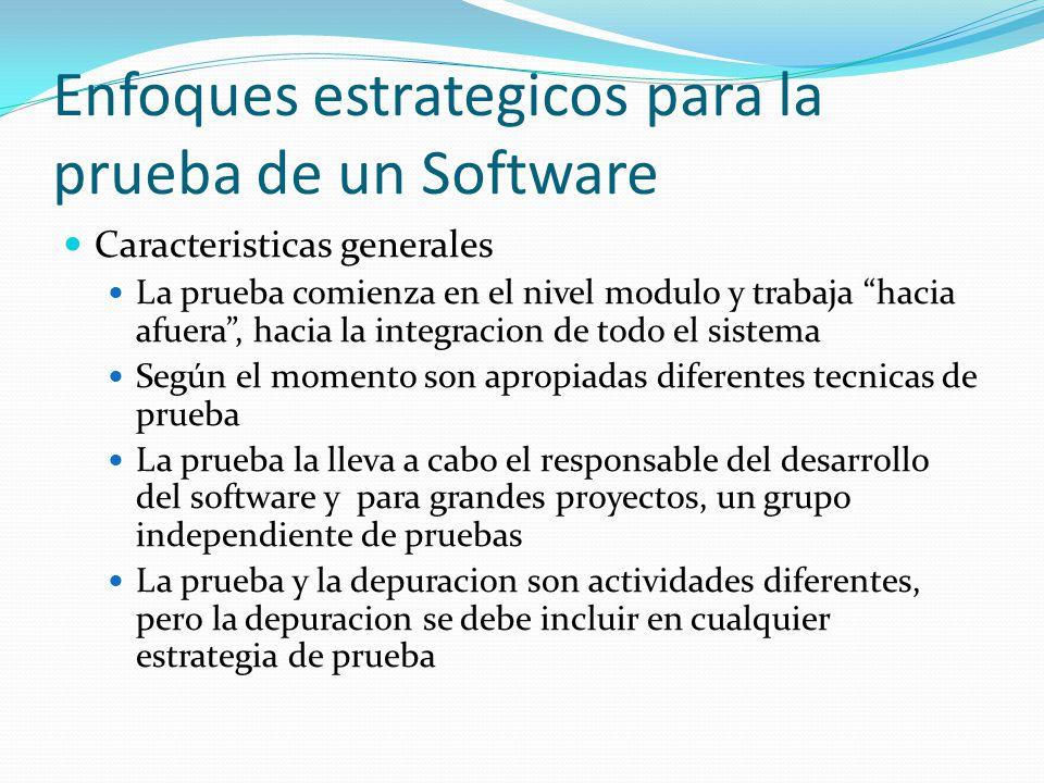 Enfoques estrategicos para la prueba de un Software Caracteristicas generales La prueba comienza en el nivel modulo y trabaja hacia afuera, hacia la i
