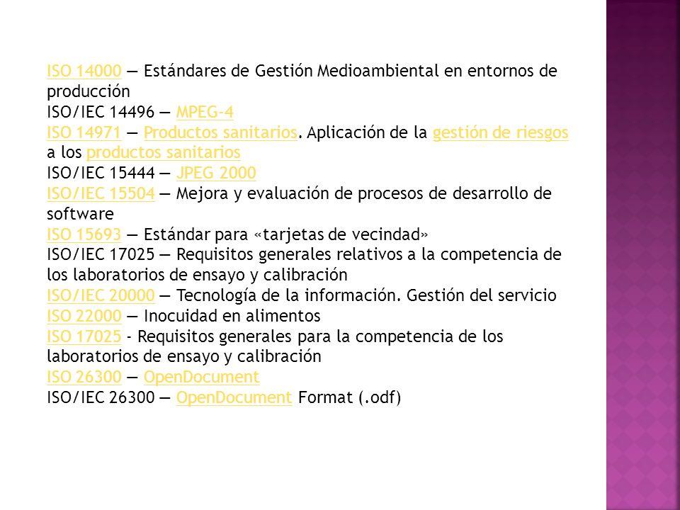 ISO/IEC 27001ISO/IEC 27001 Sistema de Gestión de Seguridad de la Información ISO/IEC 29110 Software engineering Lifecycle profiles for Very Small Entities (VSEs) (MoProsoft) ISO/IEC 29119 Pruebas de SoftwarePruebas de Software ISO 32000 Formato de Documento Portátil (.pdf) ISO 5218ISO 5218 - Representación de los sexos humanos.