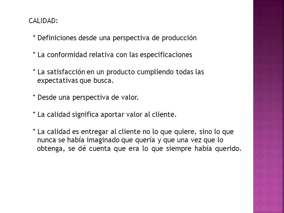 Otras definiciones de organizaciones reconocidas y expertos del mundo de la calidad son: * Definición de la norma ISO 9000: Calidad: grado en el que un conjunto de características inherentes cumple con los requisitos * Según Luis Andres Arnauda Sequera Define la norma ISO 9000 Conjunto de normas y directrices de calidad que se deben llevar a cabo en un proceso .