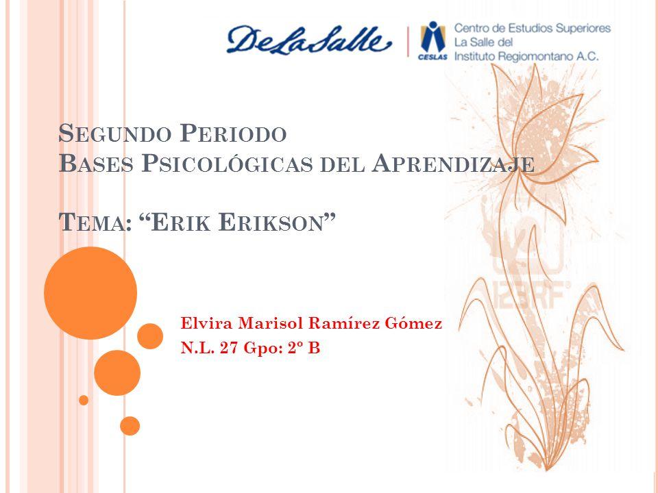 S EGUNDO P ERIODO B ASES P SICOLÓGICAS DEL A PRENDIZAJE T EMA : E RIK E RIKSON Elvira Marisol Ramírez Gómez N.L. 27 Gpo: 2º B