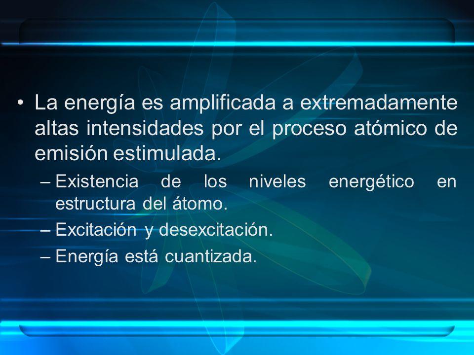 La energía es amplificada a extremadamente altas intensidades por el proceso atómico de emisión estimulada.
