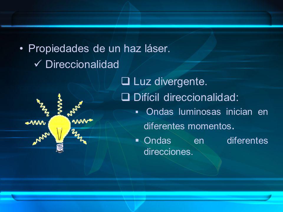 Propiedades de un haz láser. Direccionalidad Luz divergente. Difícil direccionalidad: Ondas luminosas inician en diferentes momentos. Ondas en diferen