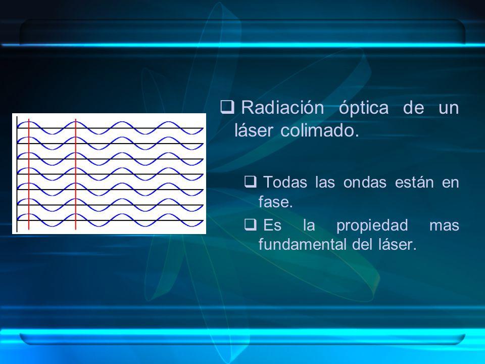 Radiación óptica de un láser colimado. Todas las ondas están en fase. Es la propiedad mas fundamental del láser.