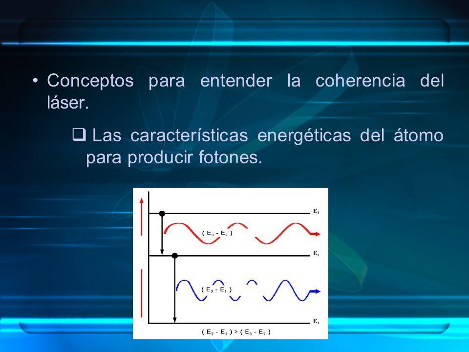 Conceptos para entender la coherencia del láser. Las características energéticas del átomo para producir fotones.