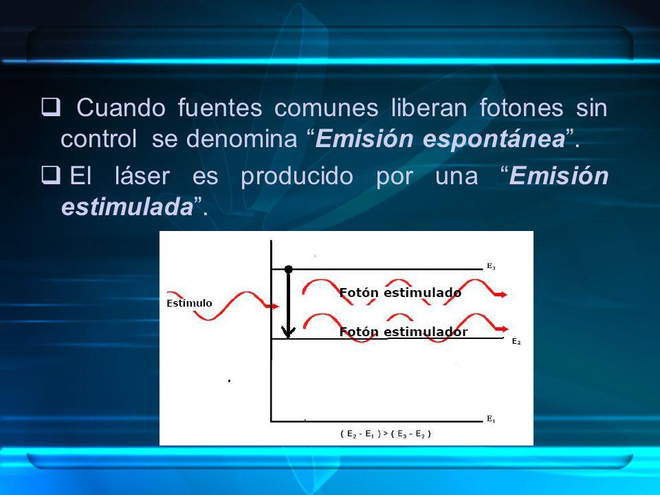Cuando fuentes comunes liberan fotones sin control se denomina Emisión espontánea. El láser es producido por una Emisión estimulada.