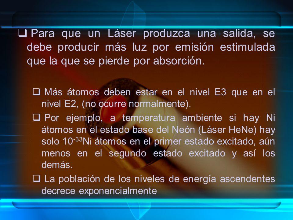 Para que un Láser produzca una salida, se debe producir más luz por emisión estimulada que la que se pierde por absorción. Más átomos deben estar en e