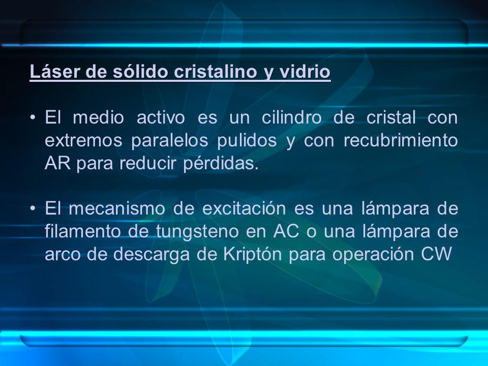 Láser de sólido cristalino y vidrio El medio activo es un cilindro de cristal con extremos paralelos pulidos y con recubrimiento AR para reducir pérdidas.