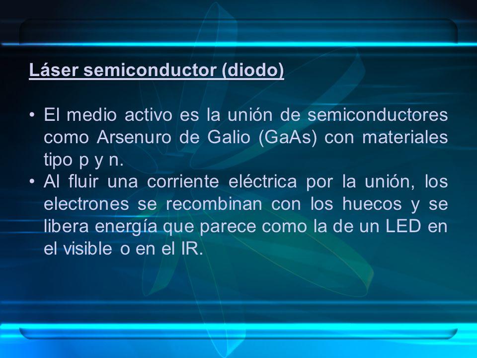 Láser semiconductor (diodo) El medio activo es la unión de semiconductores como Arsenuro de Galio (GaAs) con materiales tipo p y n.