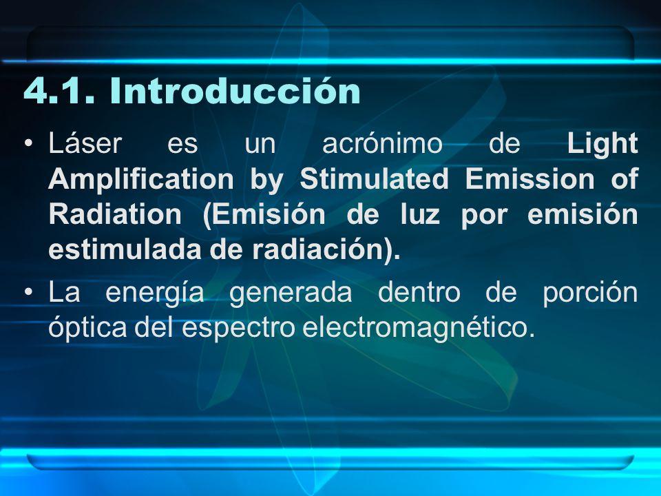 4.1. Introducción Láser es un acrónimo de Light Amplification by Stimulated Emission of Radiation (Emisión de luz por emisión estimulada de radiación)